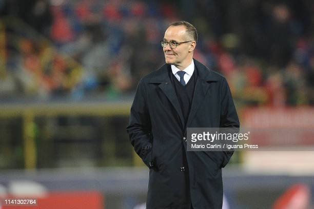 Joey Saputo President of Bologna FC celebrates with his players at the end of the Serie A match between Bologna FC and Chievo at Stadio Renato...