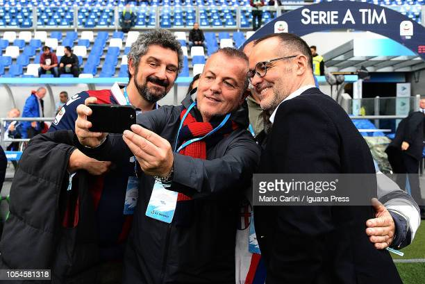 Joey Saputo President of Bologna FC take a selfie with a group of supporters of Bologna FC prior the beginning of the Serie A match between US...
