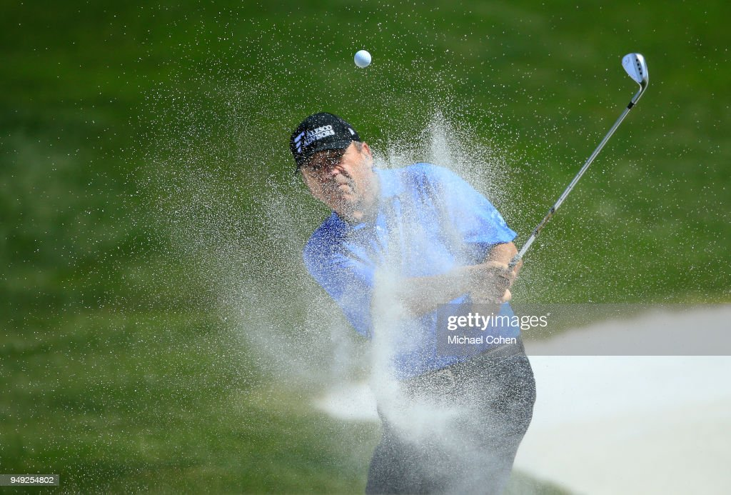 Joey Sindelar hits his second shot on the ninth hole from a bunker during the second round of the PGA TOUR Champions Bass Pro Shops Legends of Golf at Big Cedar Lodge held at Top of the Rock on April 20, 2018 in Ridgedale, Missouri.