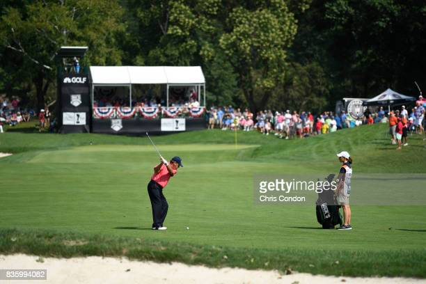 Joey Sindelar hits to the 9th green during the final round of the PGA TOUR Champions DICK'S Sporting Goods Open at EnJoie Golf Course on August 20...