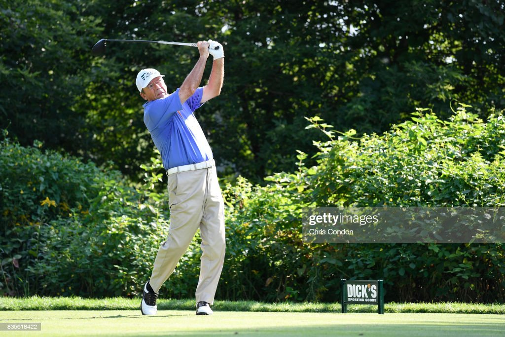Joey Sindelar tees off on the 15th hole during the second round of the PGA TOUR Champions DICK'S Sporting Goods Open at En-Joie Golf Course on August 19, 2017 in Endicott, New York.