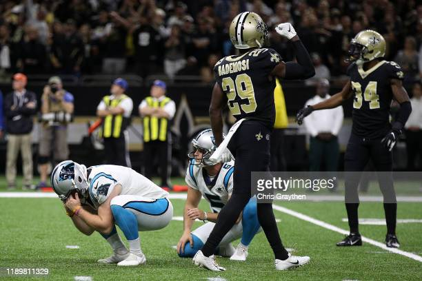 Joey Slye of the Carolina Panthers reacts after a missed field goal against the New Orleans Sainst at Mercedes Benz Superdome on November 24 2019 in...