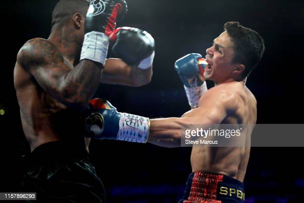 Joey Spencer punches Akeem Black during a super welterweight fight at the Mandalay Bay Events Center on June 23 2019 in Las Vegas Nevada Spencer won...
