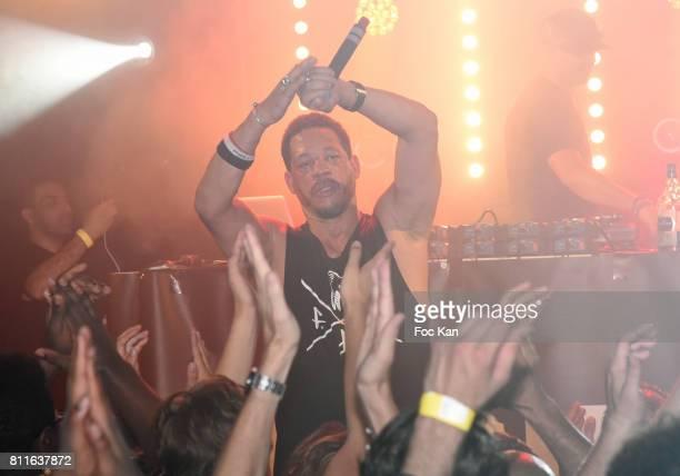 Joey Starr and DJ Cut Killer perform during the Joey Starr and DJ Cut Killer Concert as Part of Paris Hip Hop 2017 Closing Concert Party At Trabendo...