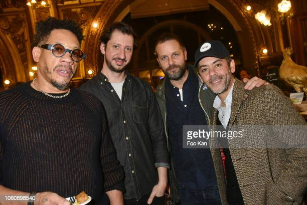 Joey Starr Monsieur Poulpe art director Joachim Roncin and actor Manu Payet attend 'Les Fooding 2019' Ceremony at Le Train Bleu on November 12 2018...