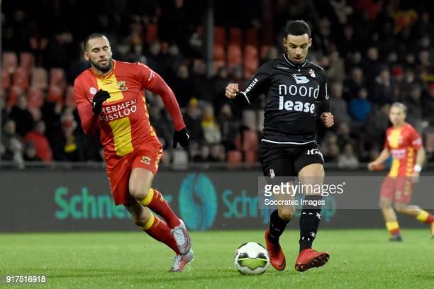 Joey Suk of Go Ahead Eagles Gersom Klok of FC Emmen during the Dutch Jupiler League match between Go Ahead Eagles v FC Emmen at the De Adelaarshorst...