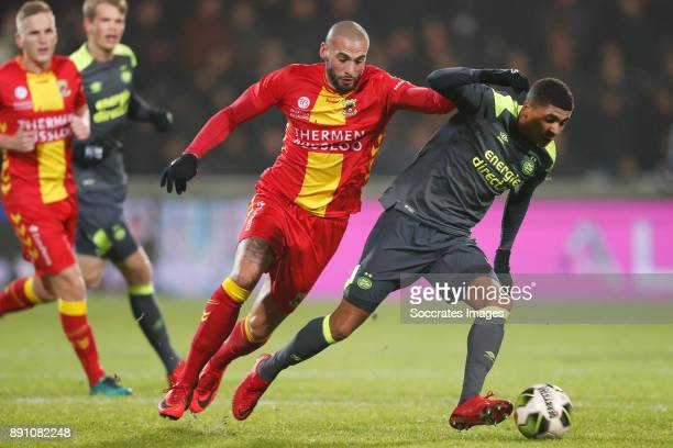 Joey Suk of Go Ahead Eagles Laros Duarte of PSV U23 during the Dutch Jupiler League match between Go Ahead Eagles v PSV U23 at the De Adelaarshorst...