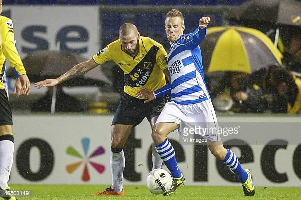 Joey Suk of NAC Breda Bart van Hintum of PEC Zwolle during the Dutch Eredivisie match between NAC Breda and Pec Zwolle at Rat Verlegh stadium on...
