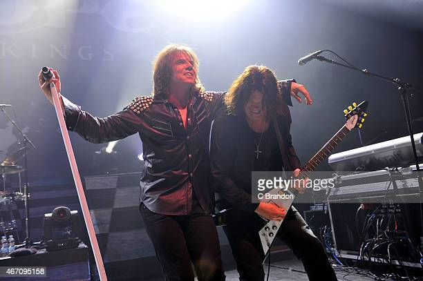 Joey Tempest and John Norum of Europe perform on stage at O2 Shepherd's Bush Empire on March 20 2015 in London United Kingdom