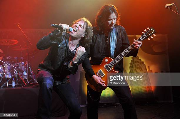 Joey Tempest and John Norum of Europe perform on stage at Shepherds Bush Empire on February 20 2010 in London England