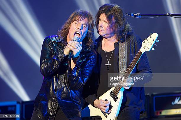 Joey Tempest and John Norum of Swedish rock band Europe perform on stage on Day 3 of Sweden Rock Festival 2013 on June 7 2013 in Solvesborg Sweden