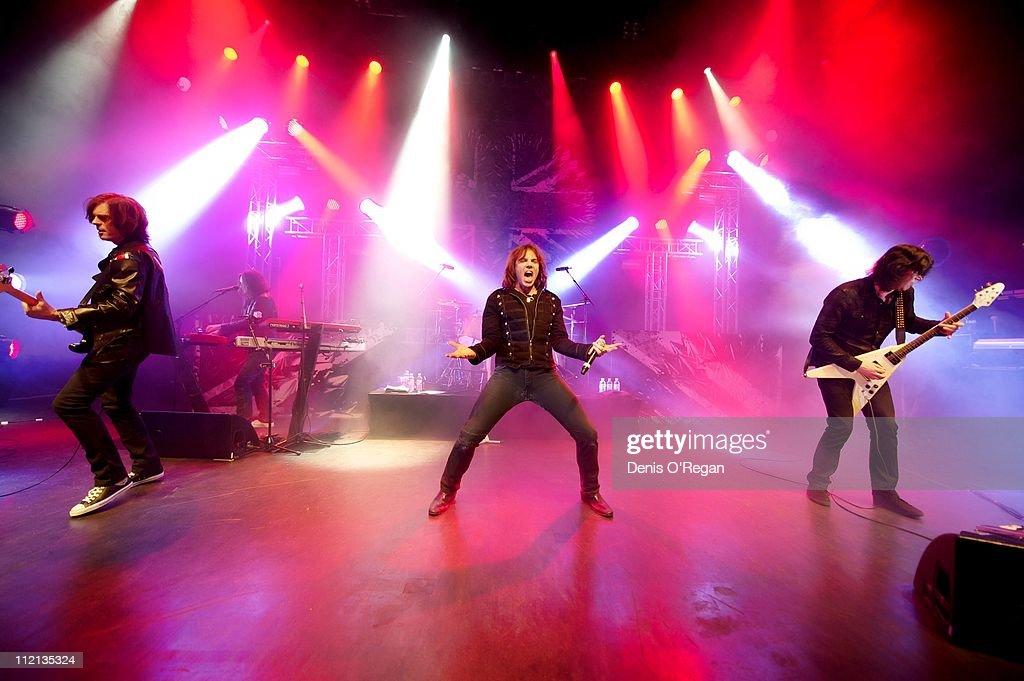 Joey Tempest, John Levin and John Norum of Swedish hard rock band Europe live in Shepherds Bush, London, January 2011.