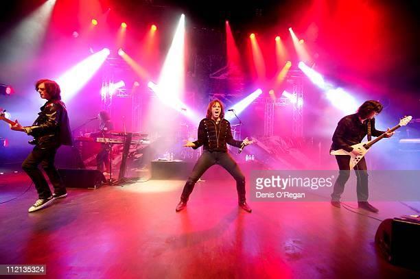 Joey Tempest John Levin and John Norum of Swedish hard rock band Europe live in Shepherds Bush London January 2011