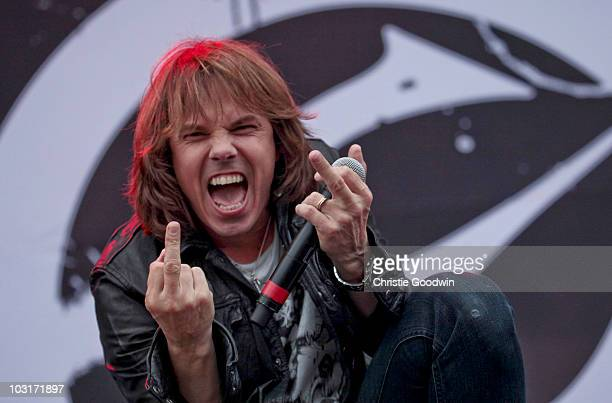 Joey Tempest of Europe performs on Day 1 of Sonisphere Festival on July 30 2010 in Knebworth England