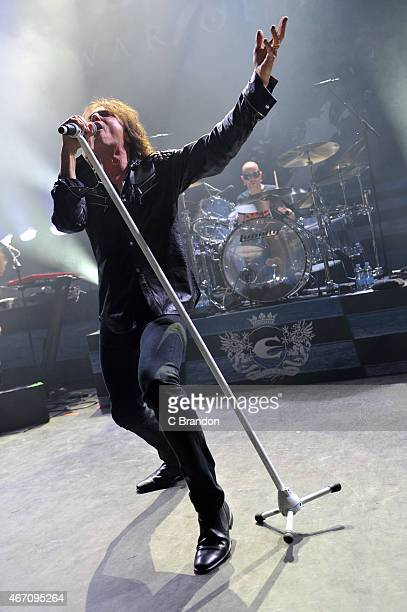 Joey Tempest of Europe performs on stage at O2 Shepherd's Bush Empire on March 20 2015 in London United Kingdom