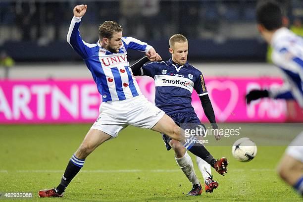 Joey van den Berg Bart van Hintum during the Dutch Eredivisie match between sc Heerenveen and PEC Zwolle at Abe Lenstra Stadium on February 7 2015 in...