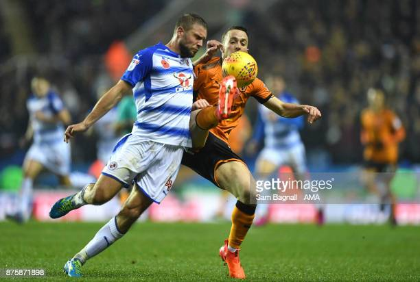 Joey van Den Berg of Reading and Diogo Jota of Wolverhampton Wanderers during the Sky Bet Championship match between Reading and Wolverhampton at...