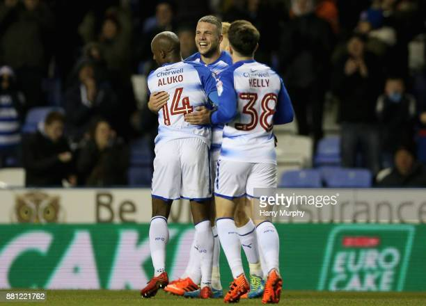 Joey van den Berg of Reading celebrates scoring his sides second goal with teammates during the Sky Bet Championship match between Reading and...