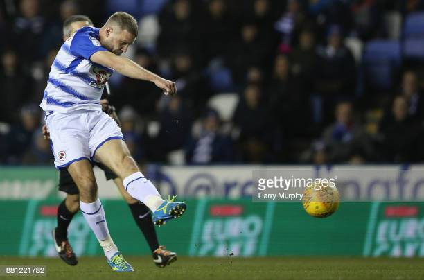 Joey van den Berg of Reading scores his side's second goal during the Sky Bet Championship match between Reading and Barnsley at Madejski Stadium on...