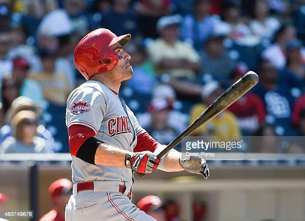 Joey Votto of the Cincinnati Reds hits a tworun home run during the ninth inning of a baseball game against the San Diego Padres at Petco Park August...