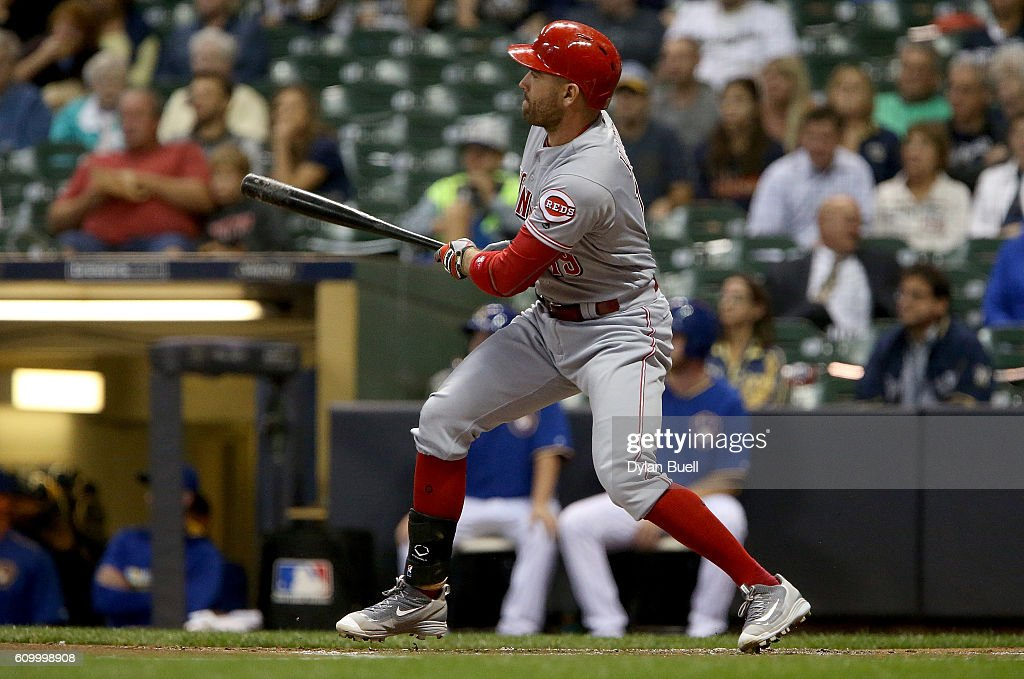 Joey Votto #19 of the Cincinnati Reds hits into a triple play in the first inning against the Milwaukee Brewers at Miller Park on September 23, 2016 in Milwaukee, Wisconsin.