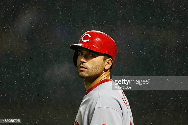 Joey Votto of the Cincinnati Reds in action against the New York Mets at Citi Field on April 4 2014 in New York City Mets defeated the Reds 43