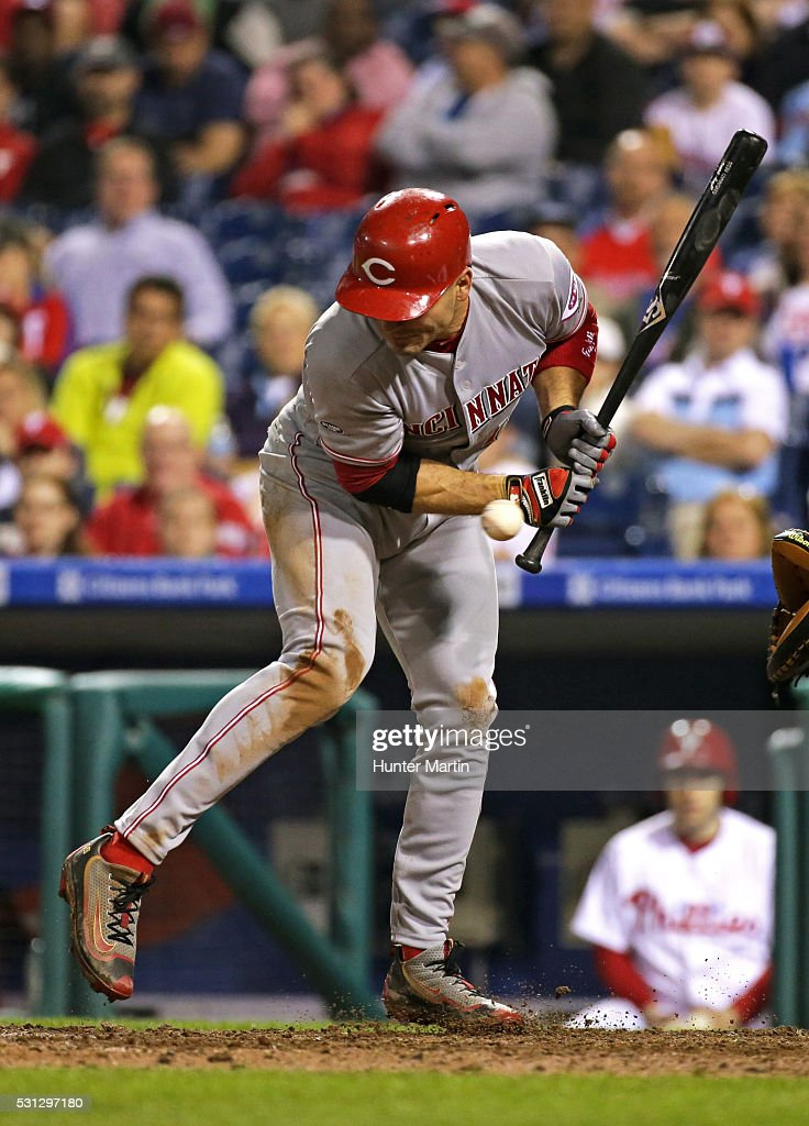Joey Votto #19 of the Cincinnati Reds is hit by a pitch in the ninth inning during a game against the Philadelphia Phillies at Citizens Bank Park on May 13, 2016 in Philadelphia, Pennsylvania. The Phillies won 3-2.