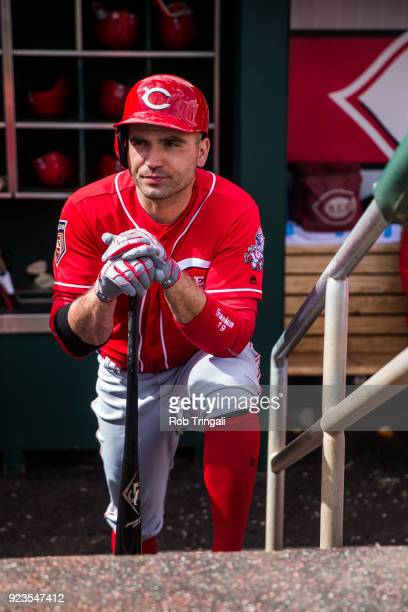 Joey Votto of the Cincinnati Reds looks on against the Cleveland Indians during a Spring Training Game at Goodyear Ballpark on February 23 2018 in...