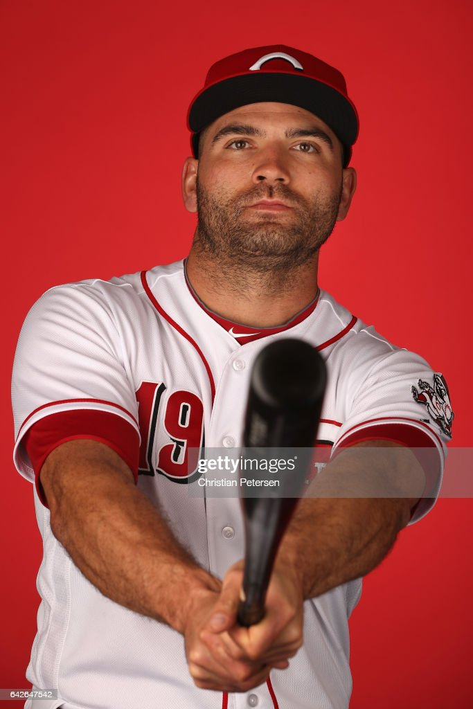 Joey Votto #19 of the Cincinnati Reds poses for a portait during a MLB photo day at Goodyear Ballpark on February 18, 2017 in Goodyear, Arizona.