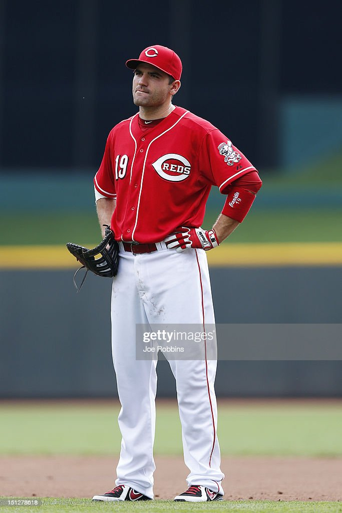 Joey Votto #19 of the Cincinnati Reds takes the field for the first time since July 15 during the game against the Philadelphia Phillies at Great American Ball Park on September 5, 2012 in Cincinnati, Ohio.