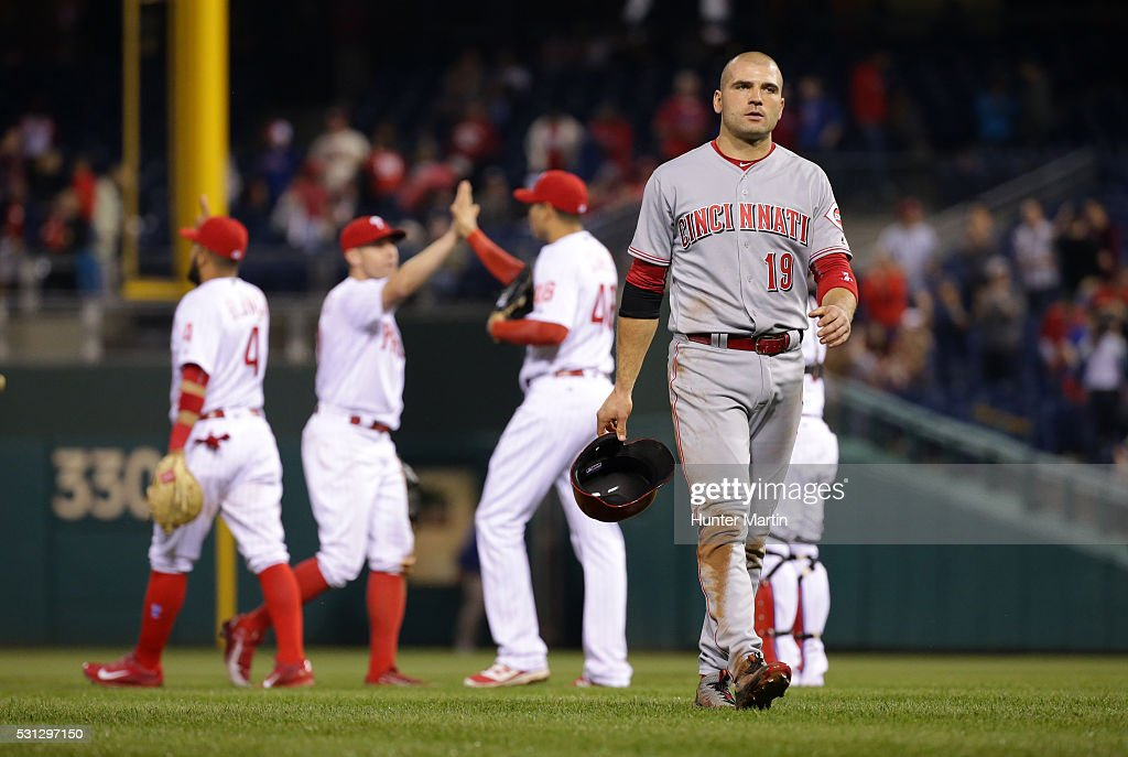 Joey Votto #19 of the Cincinnati Reds walks off the field after losing a game against the Philadelphia Phillies at Citizens Bank Park on May 13, 2016 in Philadelphia, Pennsylvania. The Phillies won 3-2.