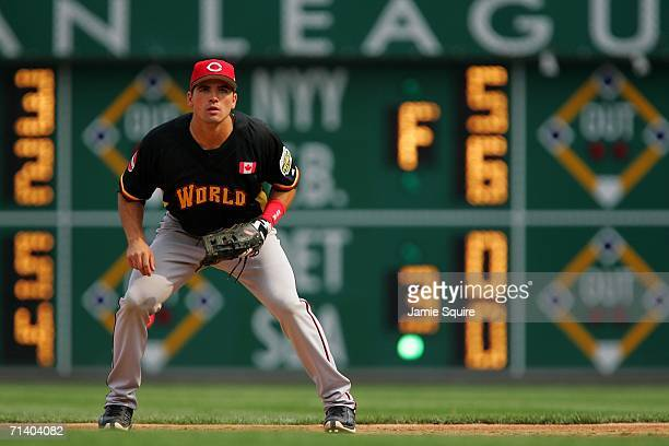 Joey Votto of the World Team plays first base against the U.S.A. Team during the XM Satellite Radio All-Star Futures Game at PNC Park on July 9, 2006...