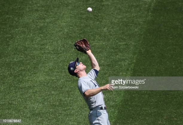 Joey Wendle of the Tampa Bay Rays catches a pop up in the third inning during MLB game action against the Toronto Blue Jays at Rogers Centre on...