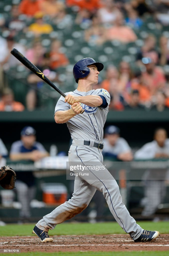 Joey Wendle #18 of the Tampa Bay Rays hits a sacrifice fly in the third inning against the Baltimore Orioles during the second game of a doubleheader at Oriole Park at Camden Yards on May 12, 2018 in Baltimore, Maryland.