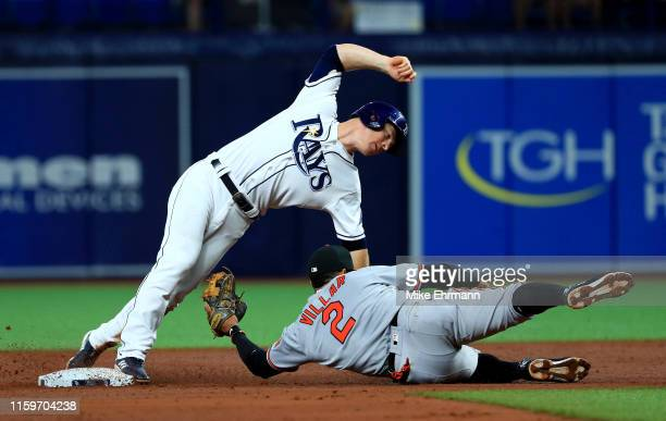 Joey Wendle of the Tampa Bay Rays steals second in the third inning under the tag from Jonathan Villar of the Baltimore Orioles during a game at...