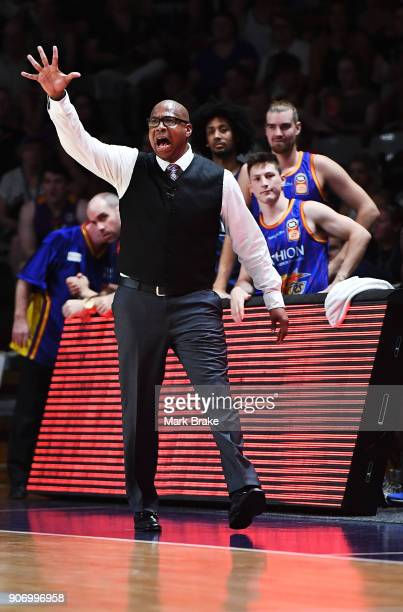 Joey Wright coach of the Adelaide 36ers during the round 15 NBL match between the Adelaide 36ers and the Illawarra Hawks at Titanium Security Arena...