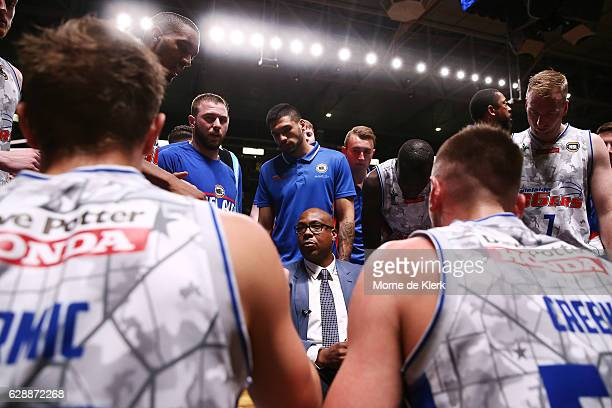 Joey Wright, head coach of the Adelaide 36ers speaks to his team during the round 10 NBL match between the Adelaide 36ers and the New Zealand...