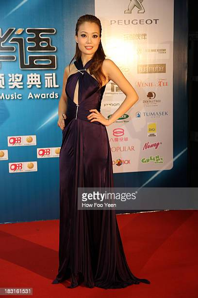 Joey Yung of Hong Kong poses during red carpet welcome prior to the start of the 13th Global Chinese Music Awards at Putra Stadium on October 5 2013...