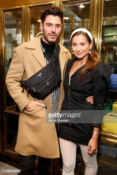 Joey Zauzig and Danielle Bernstein attend the What Goes Around Comes Around Madison Avenue Flagship Opening Celebration with Pernod Ricard on...