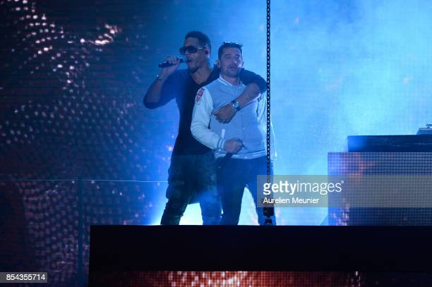 JoeyStarr and Kool Shen from NTM perform during the Etam show as part of the Paris Fashion Week Womenswear Spring/Summer 2018 on September 26 2017 in...