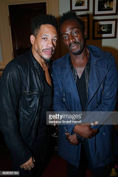 JoeyStarr and Marco Prince attend the Tout ce que vous voulez Theater Play at Theatre Edouard VII on September 19 2016 in Paris France