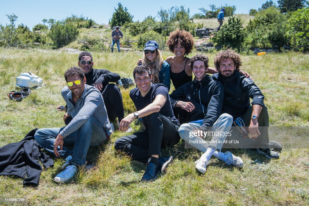 Joeystarr, Sophie ducasse, Tomer sisley, Maxime muska, Taïg khris and friends striking the pose during a bungee jump session from a cliff, Occitanie, Florac, France... : News Photo