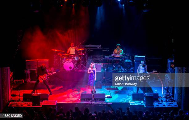 Joff Oddie, Joel Amey, Ellie Roswell, Ryan Malcom and Theo Ellis of Wolf Alice perform at O2 Academy Bournemouth on July 22, 2021 in Bournemouth,...