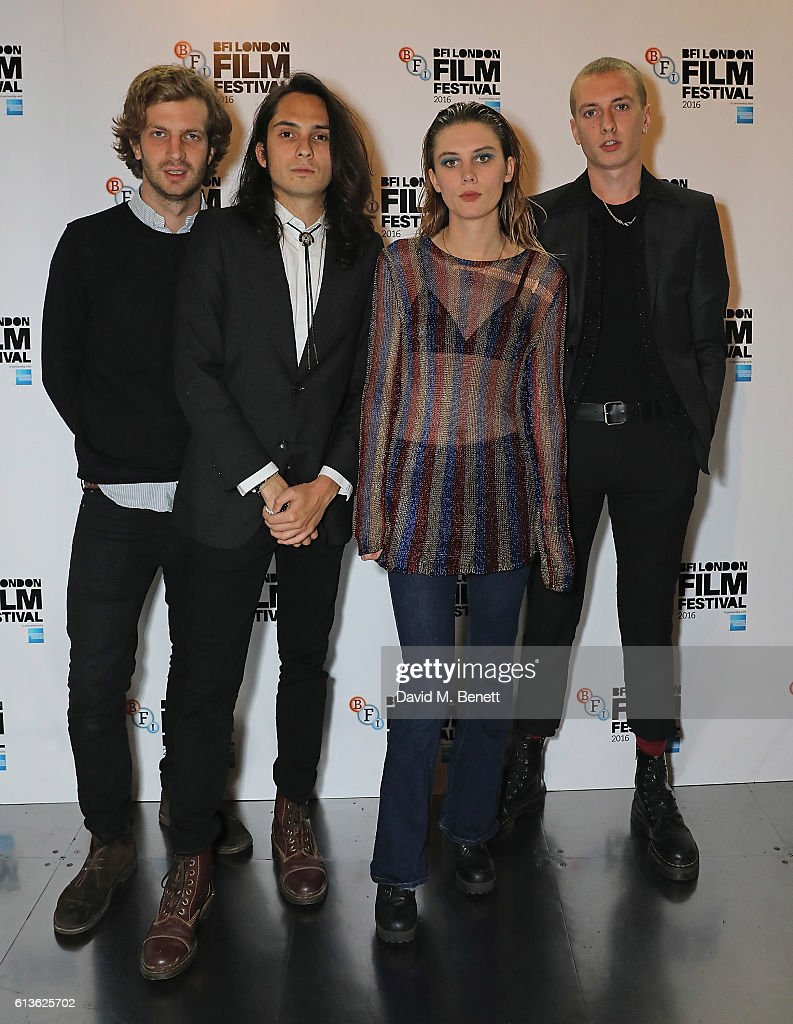 Joff Oddie, Joel Amey, Ellie Rowsell and Theo Ellis attend the 'On the Road' World Premiere screening during the 60th BFI London Film Festival at BFI Southbank on October 9, 2016 in London, England.