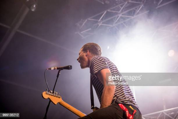 Joff Oddie of the band Wolf Alice performs on the Sagres Stage on day 1 of NOS Alive festival on July 12 2018 in Lisbon Portugal