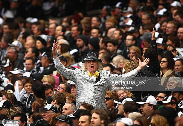 Joffa leads the Collingwood Cheer Squad during the AFL First Qualifying match between the Collingwood Magpies and the West Coast Eagles at Melbourne...
