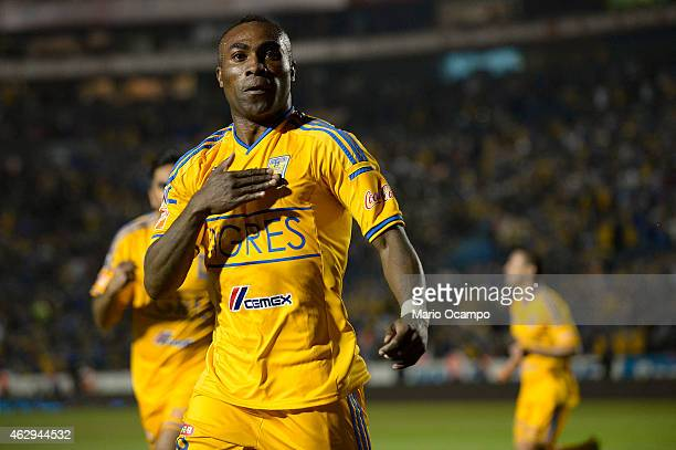Joffre Guerron of Tigres celebrates after scoring the first goal during a match between Tigres UANL and Puebla as part of 5th round Clausura 2015...