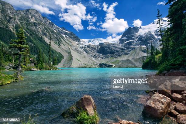 joffre lakes in summer, bc, canada - lake stock pictures, royalty-free photos & images