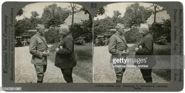Joffre Pershing in the Governors Gardens Paris Stereo Card Keystone View Company 1917