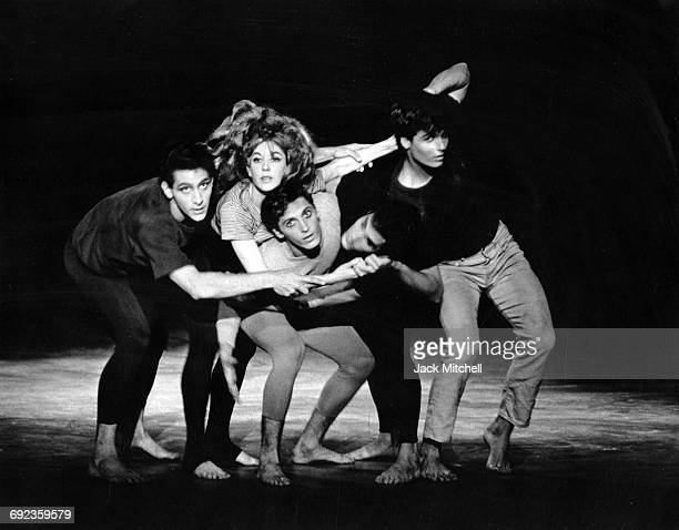 """Joffrey Ballet dancers George Montalbano, Margo Sappington, Don Richard, Ian Horvath and Dermot Burke in Anna Sokolow's """"Opus '65"""", in August 1966."""